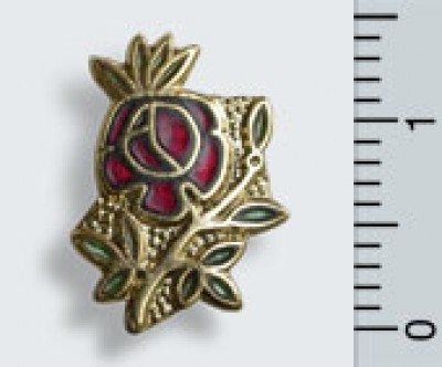 "Pin ""Rose"", 18 ct vergoldet"