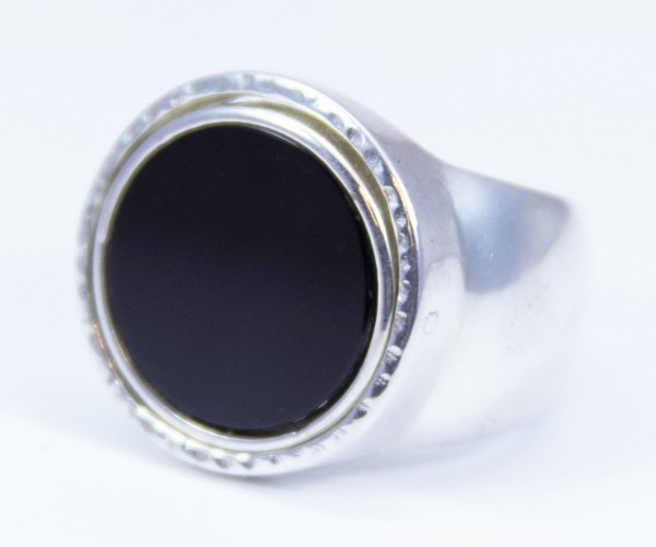 Drehring Templer 925 Silber mit Onyx