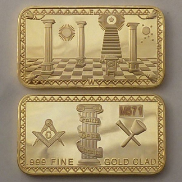 Goldbarren Tempel, 1oz 999 vergoldet
