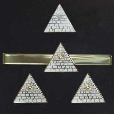 "Herrenschmuck-Set ""Illuminati"", vergoldet"